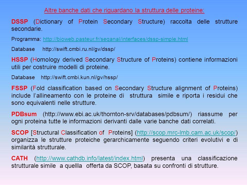 Altre banche dati che riguardano la struttura delle proteine: DSSP (Dictionary of Protein Secondary Structure) raccolta delle strutture secondarie. Pr