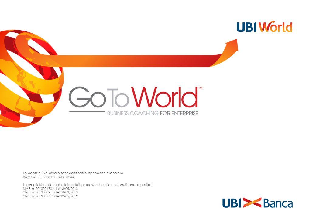 I processi di GoToWorld sono certificati e rispondono alle norme ISO 9001 – ISO 27001 – ISO 31000 La propriet à intellettuale dei modelli, processi, s
