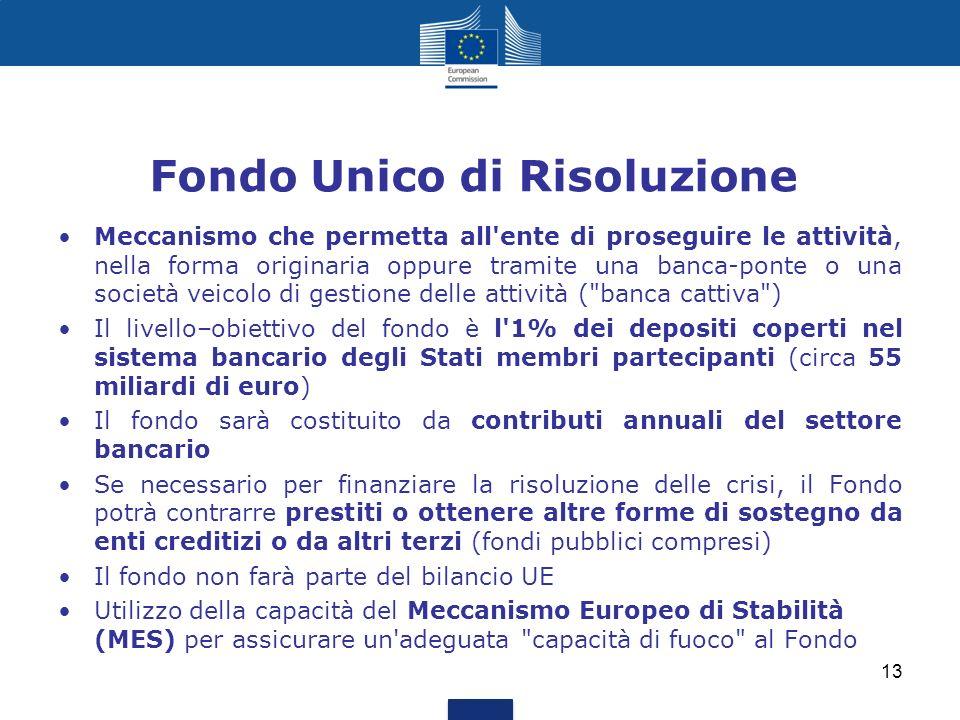 Fondo Unico di Risoluzione Meccanismo che permetta all'ente di proseguire le attività, nella forma originaria oppure tramite una banca-ponte o una soc