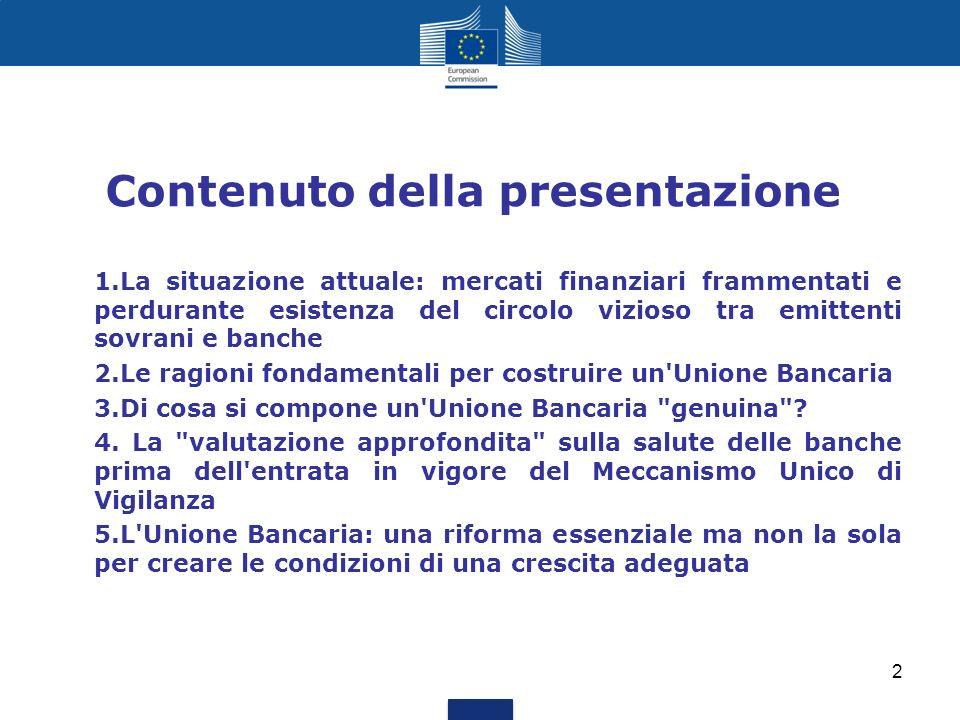 Contenuto della presentazione 1.La situazione attuale: mercati finanziari frammentati e perdurante esistenza del circolo vizioso tra emittenti sovrani