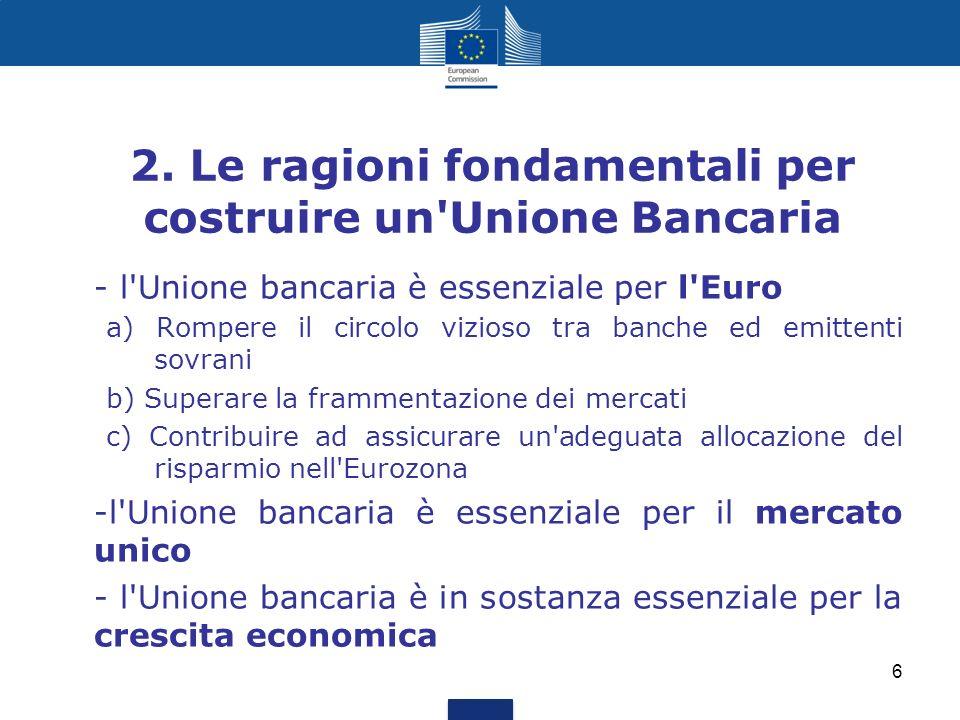 2. Le ragioni fondamentali per costruire un'Unione Bancaria - l'Unione bancaria è essenziale per l'Euro a) Rompere il circolo vizioso tra banche ed em