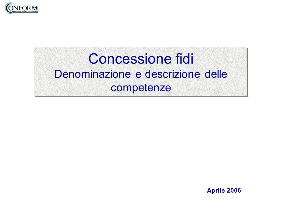 Concessione fidi Denominazione e descrizione delle competenze Aprile 2006