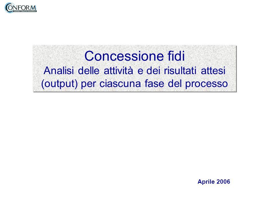 Concessione fidi Analisi delle attività e dei risultati attesi (output) per ciascuna fase del processo Aprile 2006