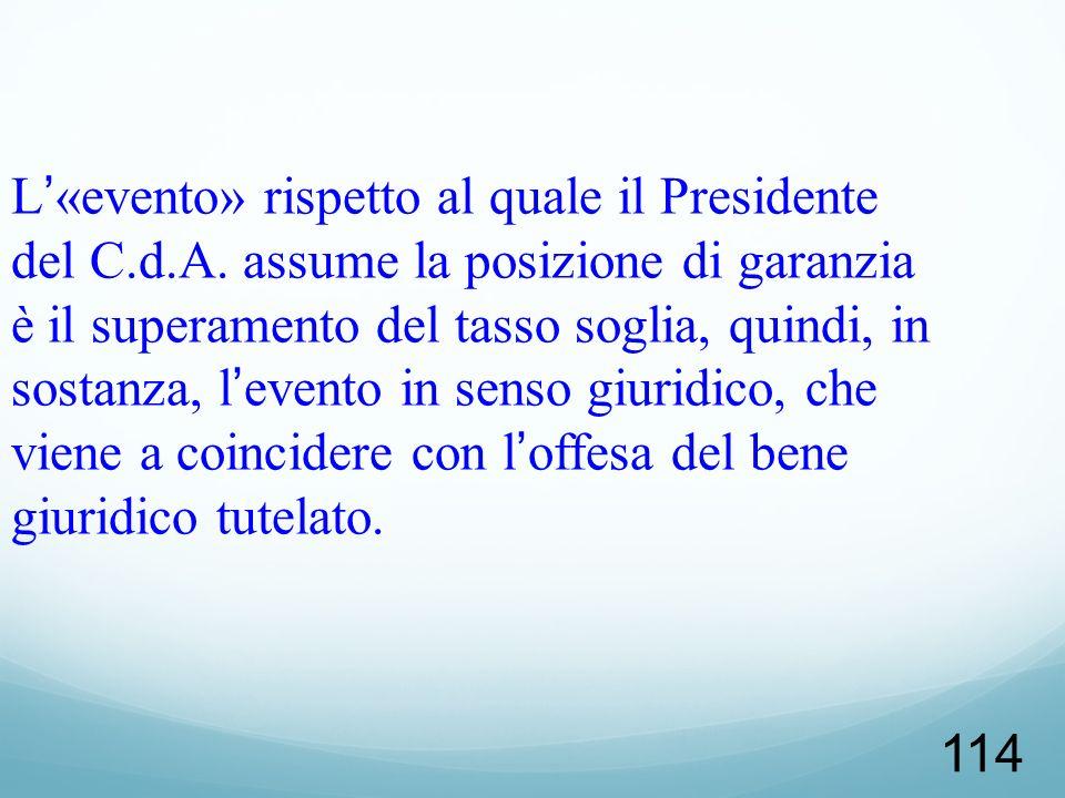 114 L«evento» rispetto al quale il Presidente del C.d.A. assume la posizione di garanzia è il superamento del tasso soglia, quindi, in sostanza, leven