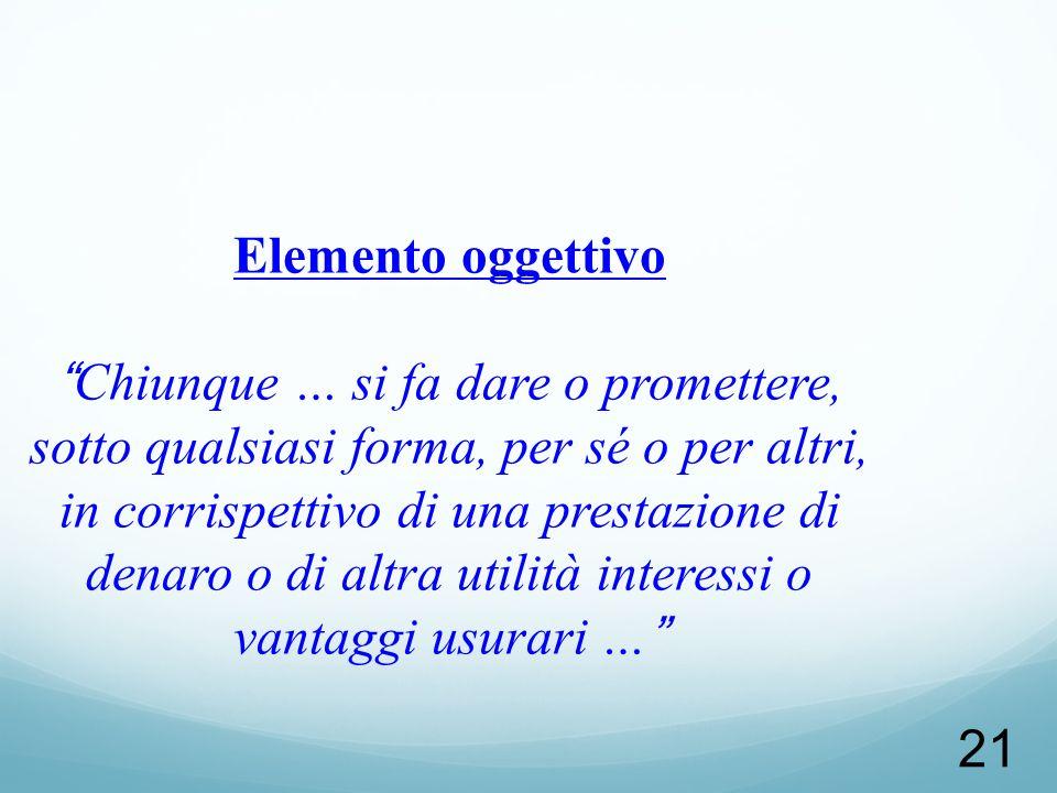 21 Elemento oggettivoChiunque … si fa dare o promettere, sotto qualsiasi forma, per sé o per altri, in corrispettivo di una prestazione di denaro o di