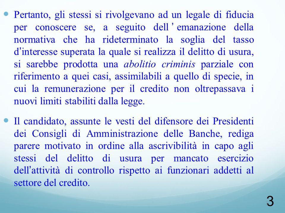 4 DELITTO DI USURA BANCARIA (art. 644 c.p.)