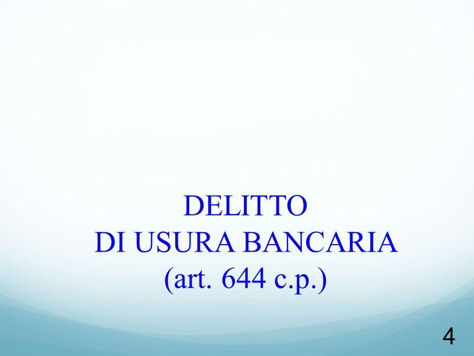 25 Configurabilità del TENTATIVO nel delitto di usura DIBATTITO: