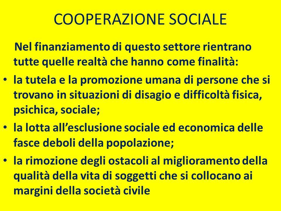 COOPERAZIONE SOCIALE Nel finanziamento di questo settore rientrano tutte quelle realtà che hanno come finalità: la tutela e la promozione umana di per