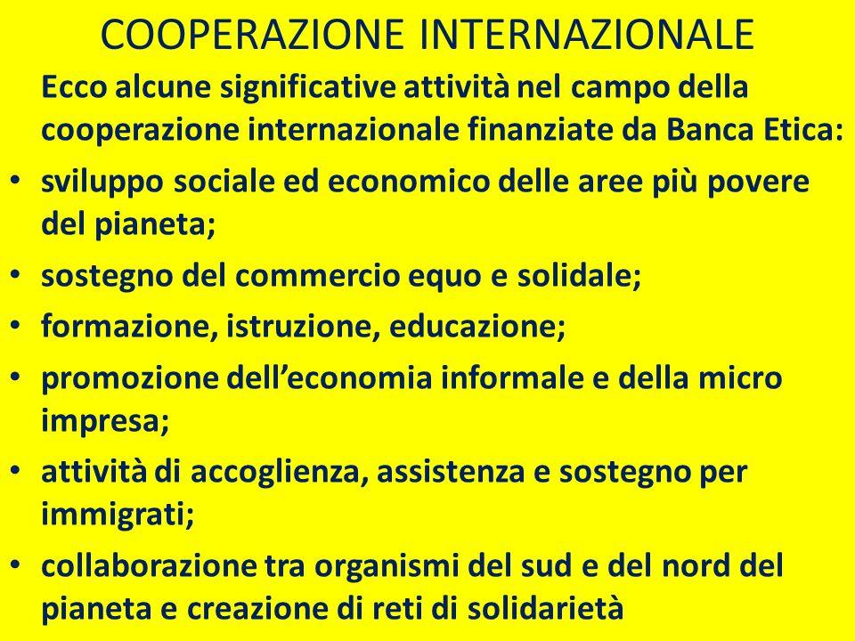 Ecco alcune significative attività nel campo della cooperazione internazionale finanziate da Banca Etica: sviluppo sociale ed economico delle aree più