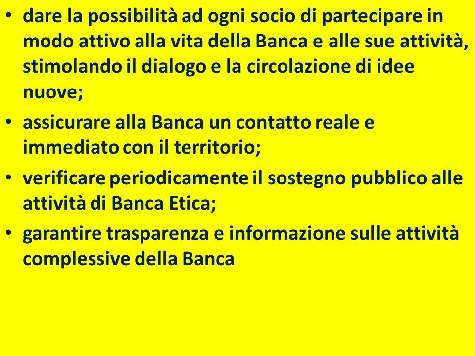 dare la possibilità ad ogni socio di partecipare in modo attivo alla vita della Banca e alle sue attività, stimolando il dialogo e la circolazione di