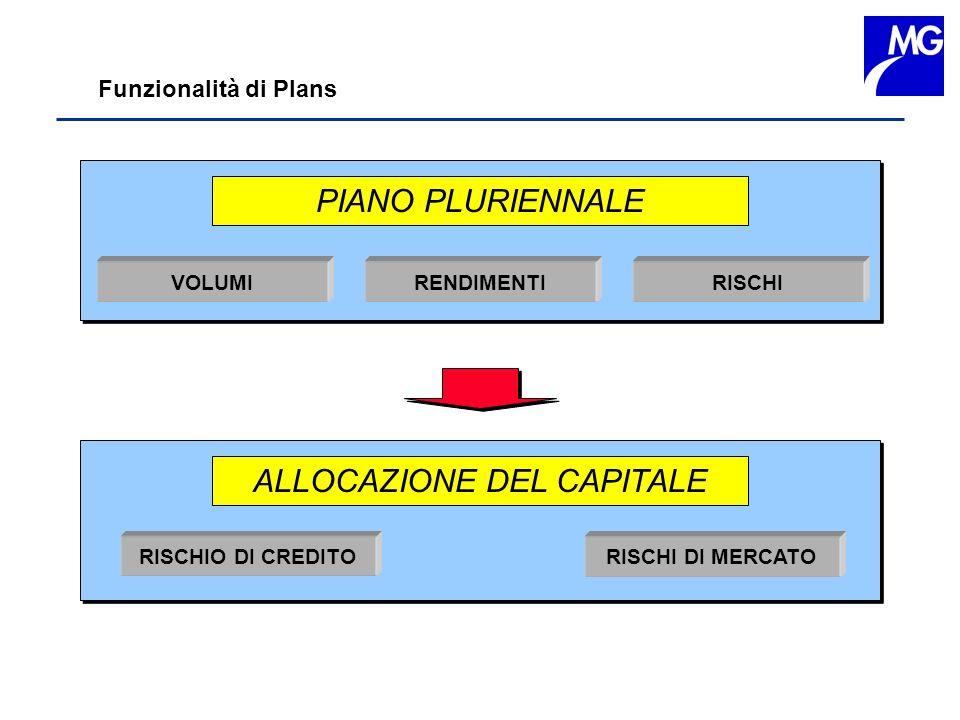 Funzionalità di Plans PIANO PLURIENNALE VOLUMI RENDIMENTI RISCHI ALLOCAZIONE DEL CAPITALE RISCHIO DI CREDITO RISCHI DI MERCATO