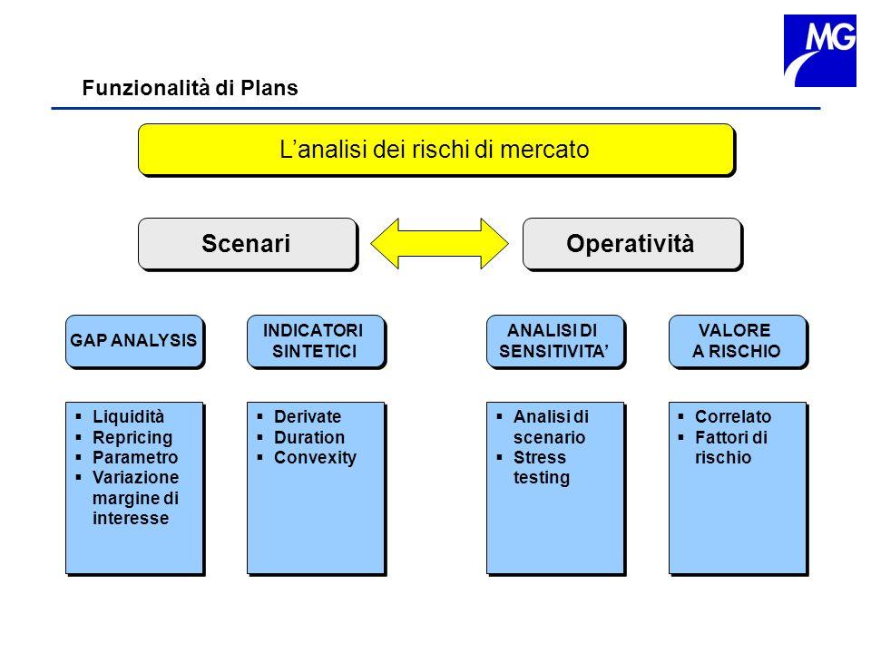 Funzionalità di Plans Lanalisi dei rischi di mercato GAP ANALYSIS INDICATORI SINTETICI INDICATORI SINTETICI ANALISI DI SENSITIVITA ANALISI DI SENSITIV