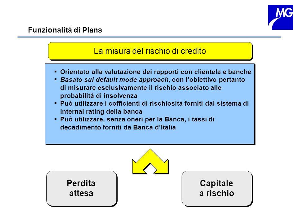 Funzionalità di Plans La misura del rischio di credito Perdita attesa Perdita attesa Capitale a rischio Capitale a rischio Orientato alla valutazione