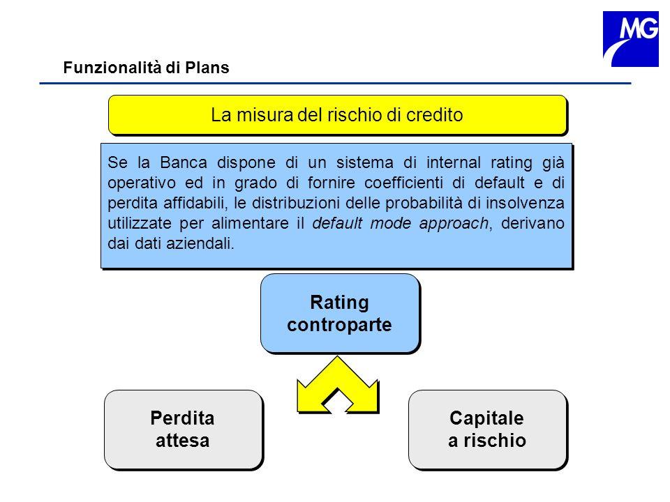Funzionalità di Plans La misura del rischio di credito Perdita attesa Perdita attesa Capitale a rischio Capitale a rischio Se la Banca dispone di un s