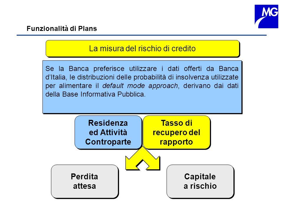 Funzionalità di Plans La misura del rischio di credito Perdita attesa Perdita attesa Capitale a rischio Capitale a rischio Se la Banca preferisce util