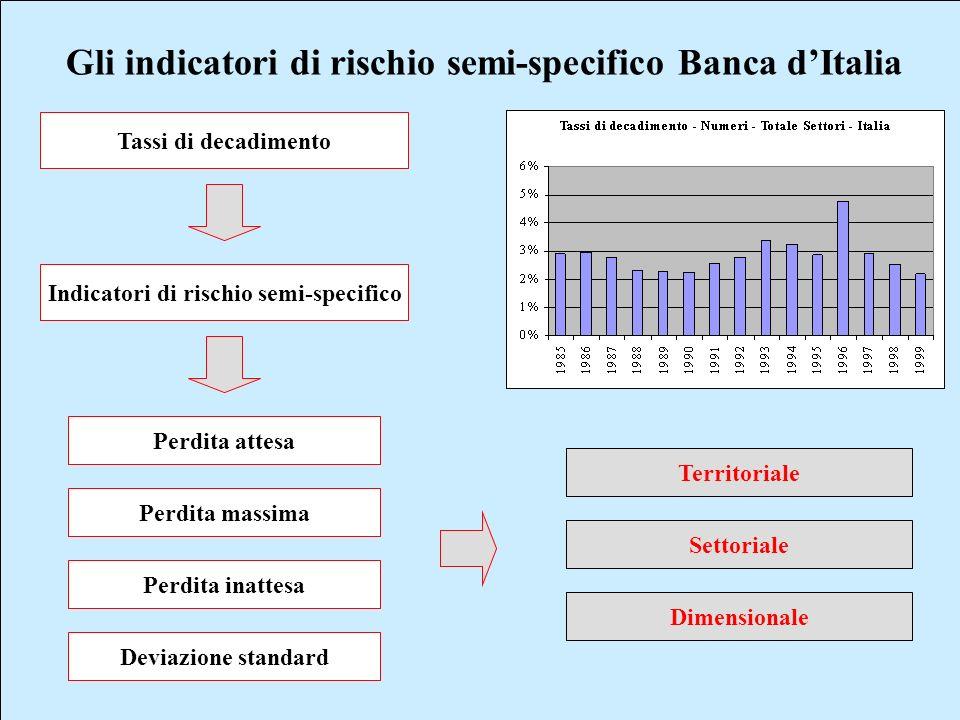 Gli indicatori di rischio semi-specifico Banca dItalia Tassi di decadimento Indicatori di rischio semi-specifico Perdita attesa Perdita massima Perdit