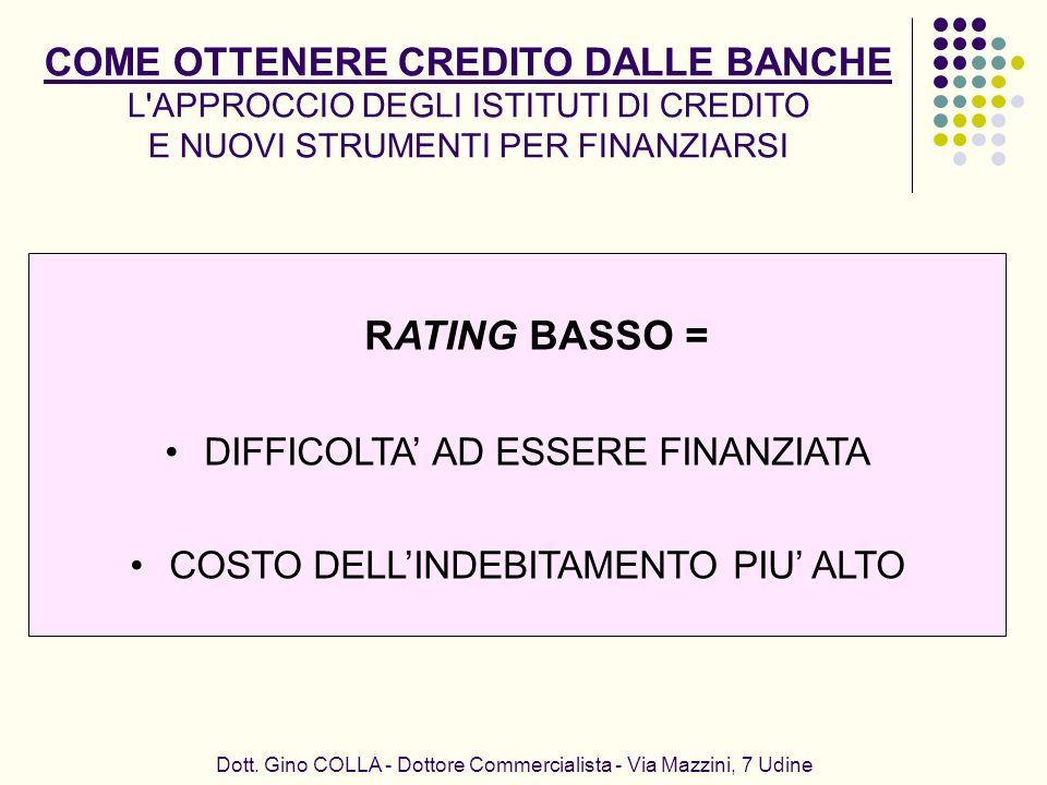 Dott. Gino COLLA - Dottore Commercialista - Via Mazzini, 7 Udine COME OTTENERE CREDITO DALLE BANCHE L'APPROCCIO DEGLI ISTITUTI DI CREDITO E NUOVI STRU