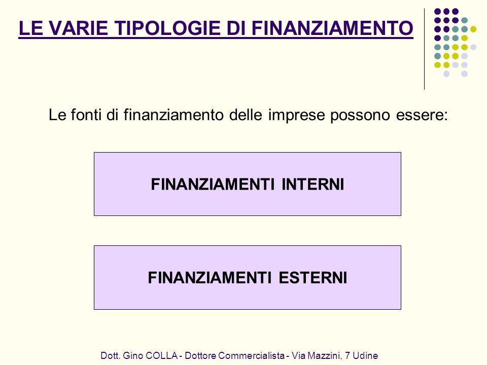 Dott. Gino COLLA - Dottore Commercialista - Via Mazzini, 7 Udine FINANZIAMENTI INTERNI Le fonti di finanziamento delle imprese possono essere: FINANZI