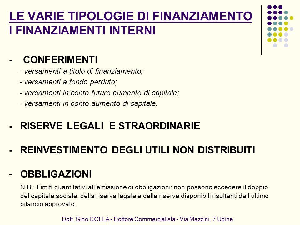 LE VARIE TIPOLOGIE DI FINANZIAMENTO I FINANZIAMENTI INTERNI Dott. Gino COLLA - Dottore Commercialista - Via Mazzini, 7 Udine - CONFERIMENTI - versamen
