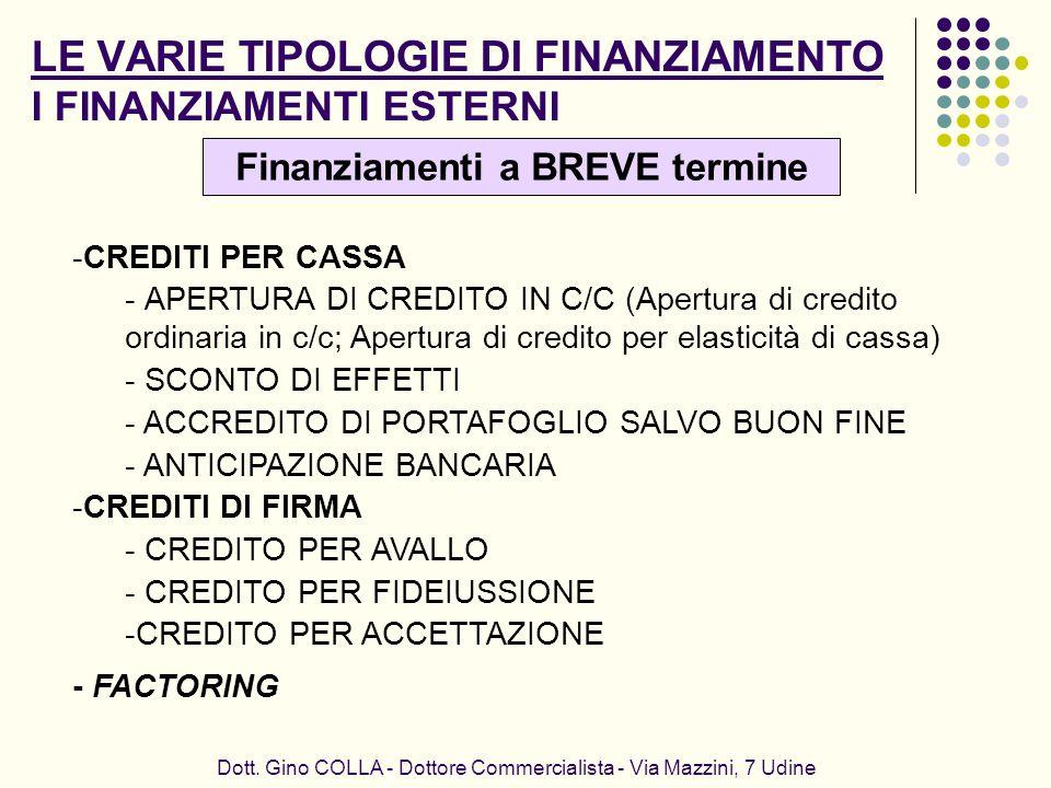 LE VARIE TIPOLOGIE DI FINANZIAMENTO I FINANZIAMENTI ESTERNI Dott. Gino COLLA - Dottore Commercialista - Via Mazzini, 7 Udine -CREDITI PER CASSA - APER