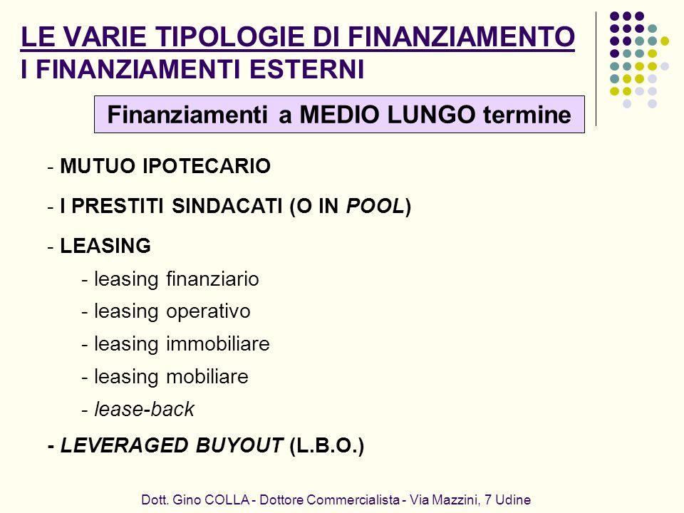 LE VARIE TIPOLOGIE DI FINANZIAMENTO I FINANZIAMENTI ESTERNI Dott. Gino COLLA - Dottore Commercialista - Via Mazzini, 7 Udine - MUTUO IPOTECARIO - I PR