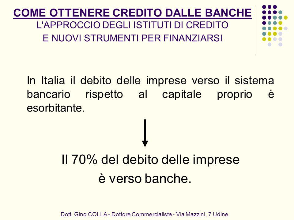 COME OTTENERE CREDITO DALLE BANCHE L'APPROCCIO DEGLI ISTITUTI DI CREDITO E NUOVI STRUMENTI PER FINANZIARSI In Italia il debito delle imprese verso il