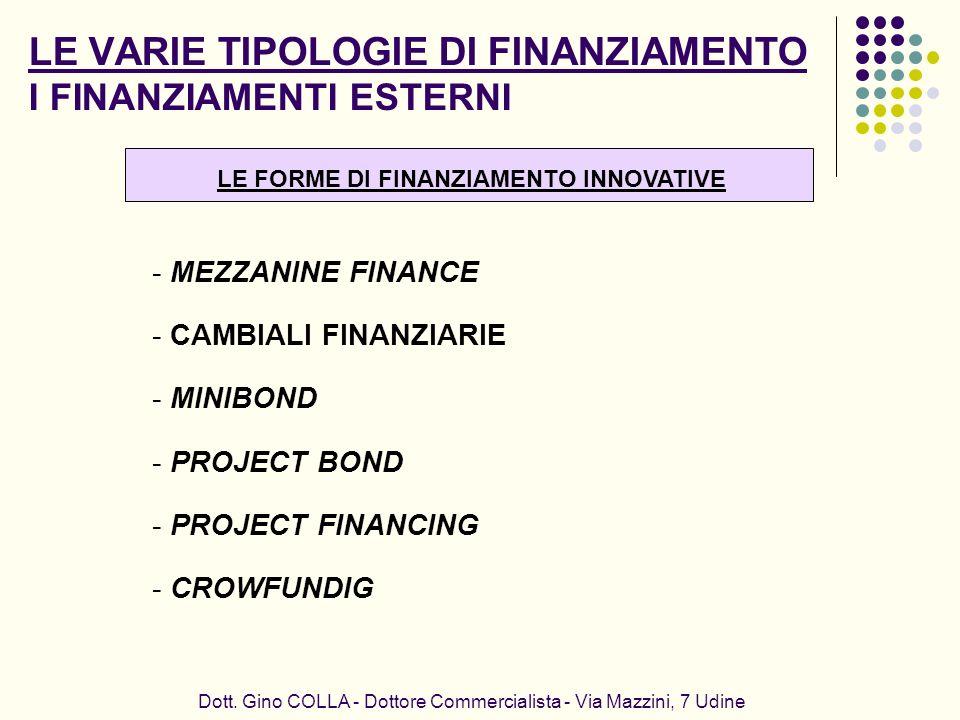 LE VARIE TIPOLOGIE DI FINANZIAMENTO I FINANZIAMENTI ESTERNI Dott. Gino COLLA - Dottore Commercialista - Via Mazzini, 7 Udine - MEZZANINE FINANCE - CAM
