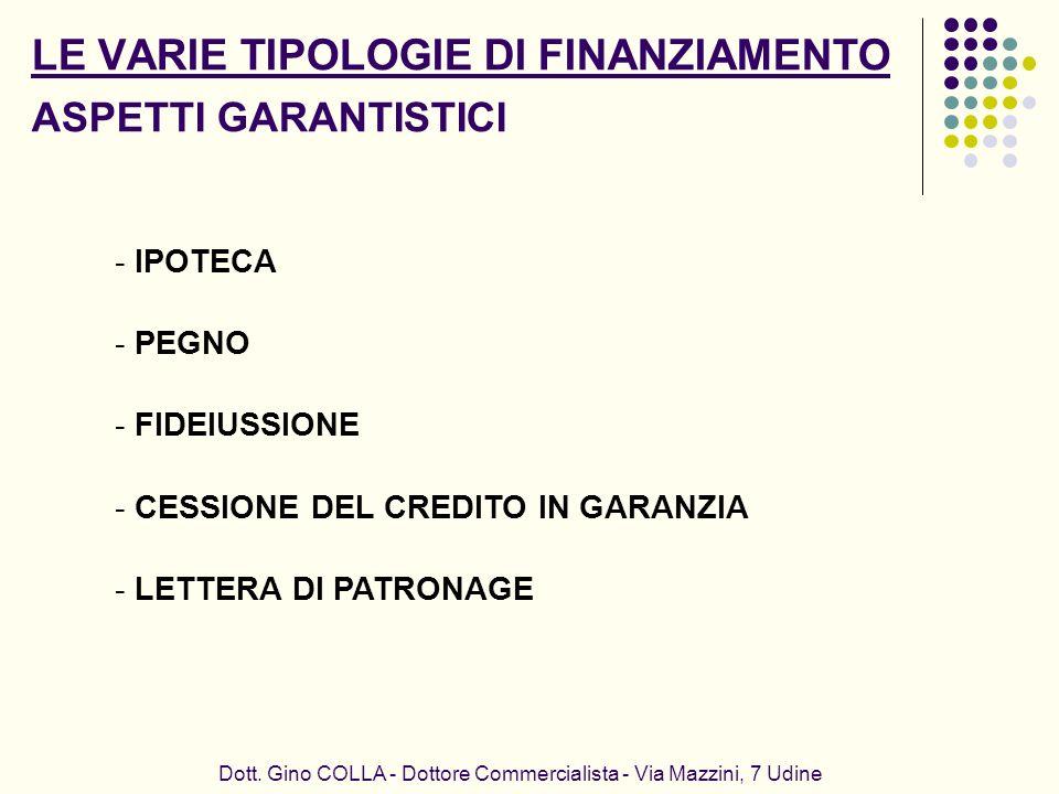 Dott. Gino COLLA - Dottore Commercialista - Via Mazzini, 7 Udine - IPOTECA - PEGNO - FIDEIUSSIONE - CESSIONE DEL CREDITO IN GARANZIA - LETTERA DI PATR