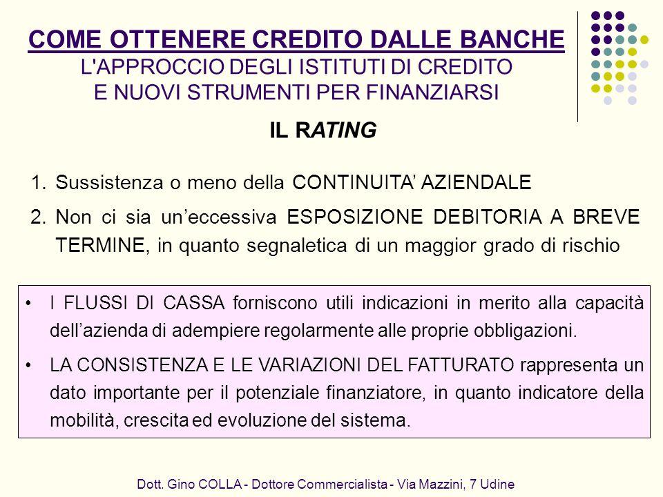 IL RATING Dott. Gino COLLA - Dottore Commercialista - Via Mazzini, 7 Udine 1.Sussistenza o meno della CONTINUITA AZIENDALE 2.Non ci sia uneccessiva ES