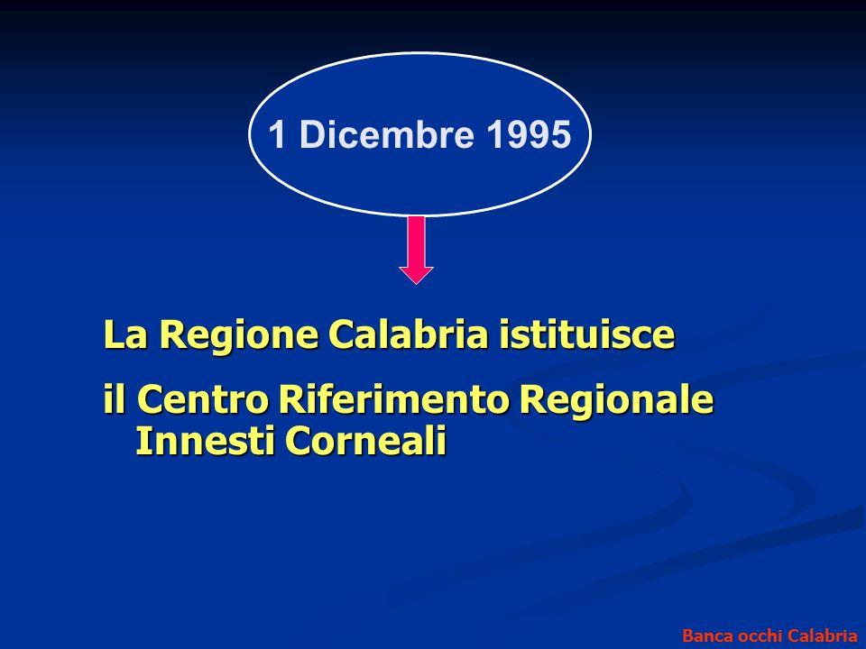1 Dicembre 1995 Banca occhi Calabria La Regione Calabria istituisce il Centro Riferimento Regionale Innesti Corneali