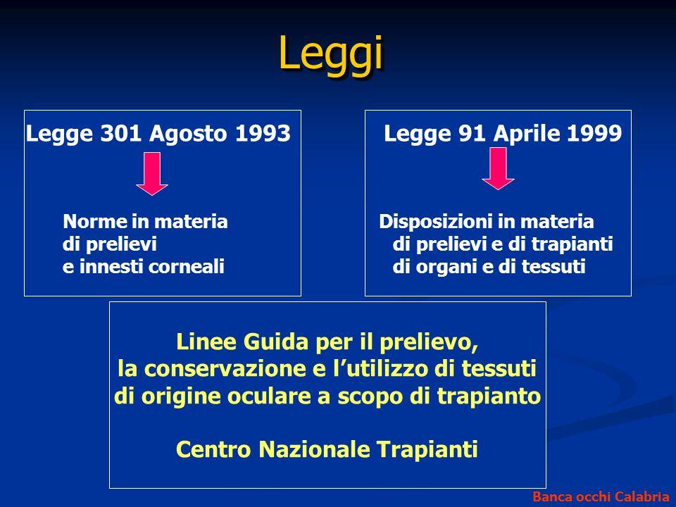 LeggiLeggi Legge 301 Agosto 1993Legge 91 Aprile 1999 Disposizioni in materia di prelievi e di trapianti di organi e di tessuti Norme in materia di pre