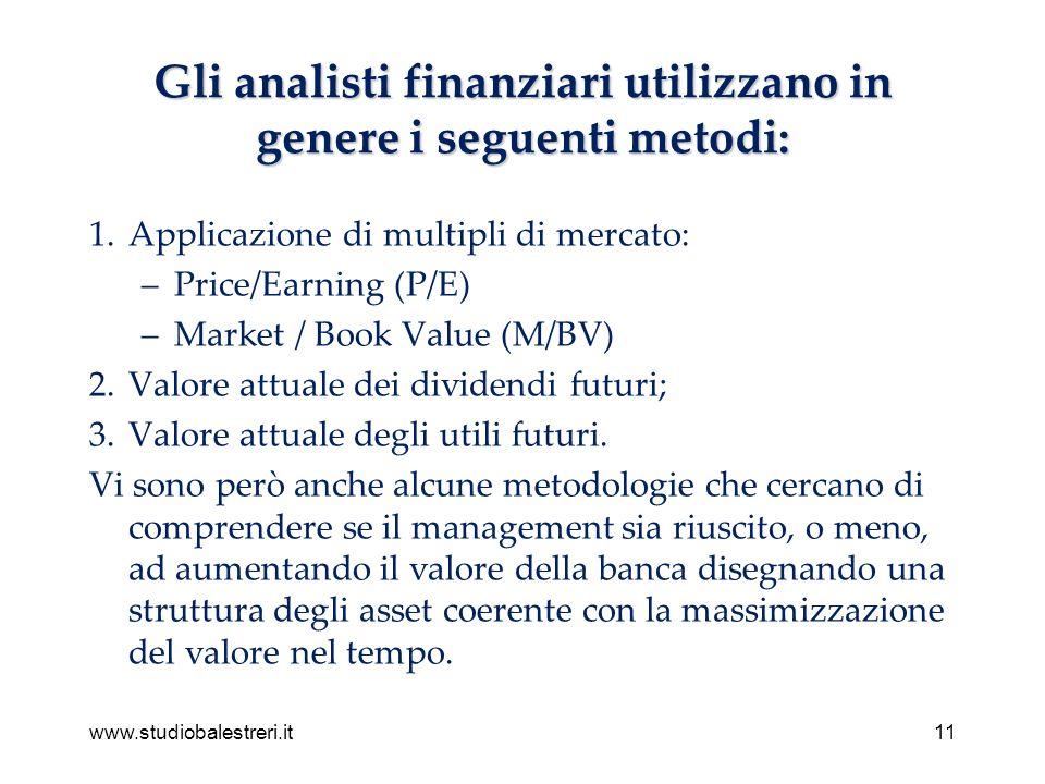 www.studiobalestreri.it11 Gli analisti finanziari utilizzano in genere i seguenti metodi: 1.Applicazione di multipli di mercato: –Price/Earning (P/E) –Market / Book Value (M/BV) 2.Valore attuale dei dividendi futuri; 3.Valore attuale degli utili futuri.