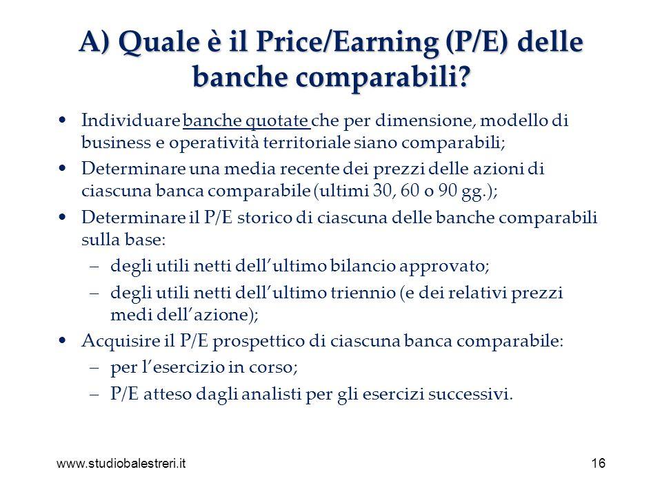 www.studiobalestreri.it16 A) Quale è il Price/Earning (P/E) delle banche comparabili.