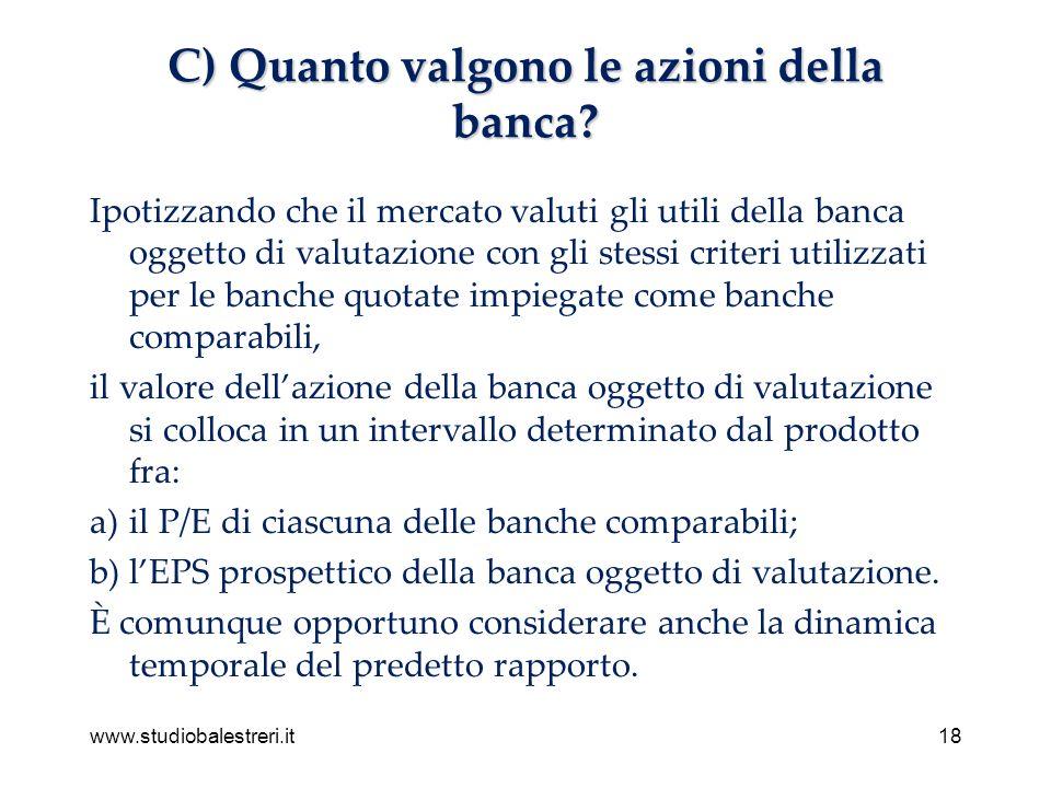 www.studiobalestreri.it18 C) Quanto valgono le azioni della banca.