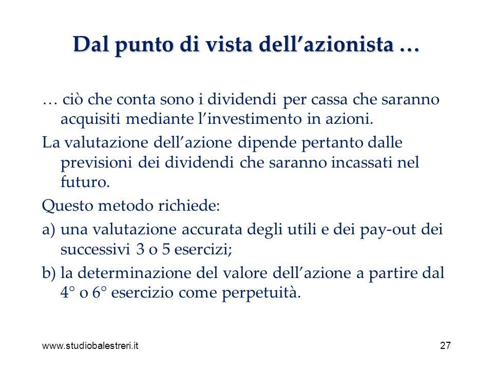 www.studiobalestreri.it27 Dal punto di vista dellazionista … … ciò che conta sono i dividendi per cassa che saranno acquisiti mediante linvestimento in azioni.