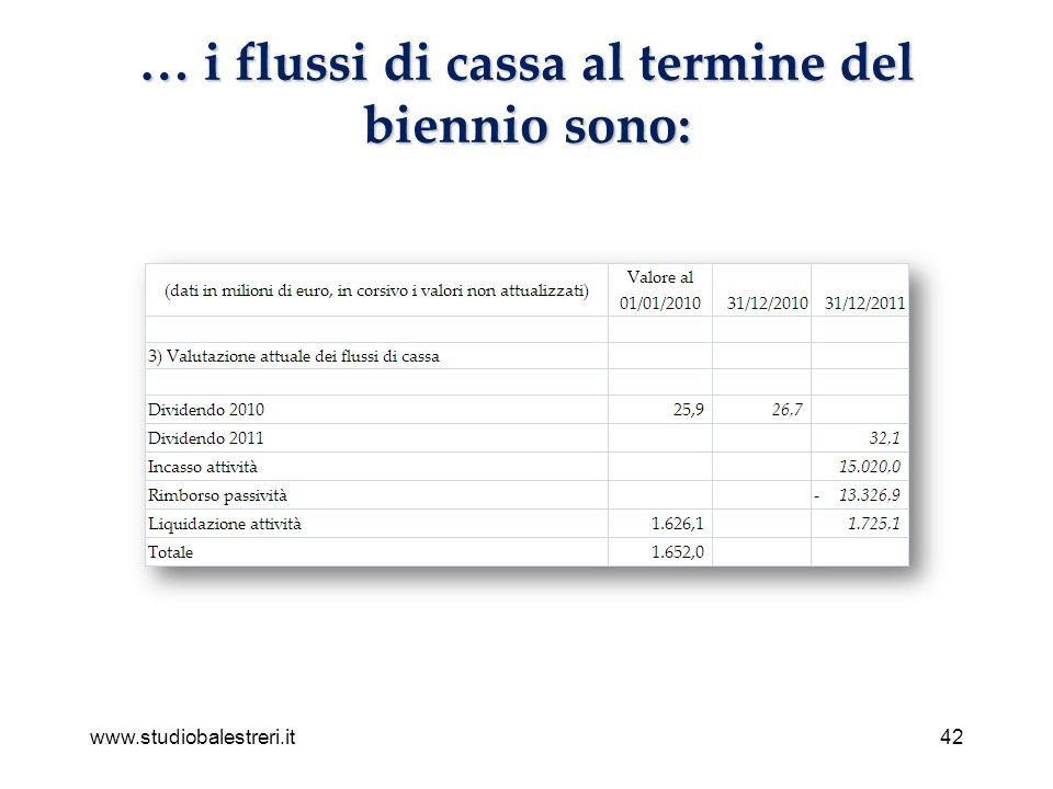 www.studiobalestreri.it42 … i flussi di cassa al termine del biennio sono: