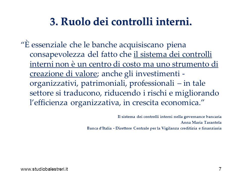 www.studiobalestreri.it7 3. Ruolo dei controlli interni. È essenziale che le banche acquisiscano piena consapevolezza del fatto che il sistema dei con