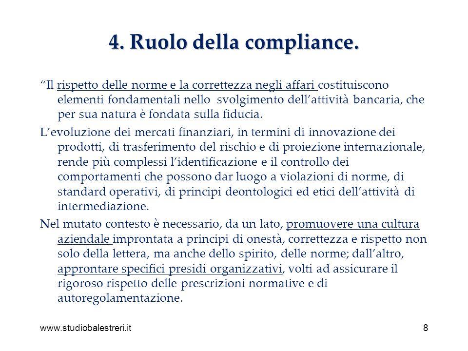 www.studiobalestreri.it8 4. Ruolo della compliance.