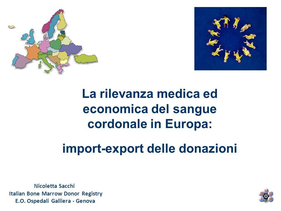 Nicoletta Sacchi Italian Bone Marrow Donor Registry E.O. Ospedali Galliera - Genova La rilevanza medica ed economica del sangue cordonale in Europa: i