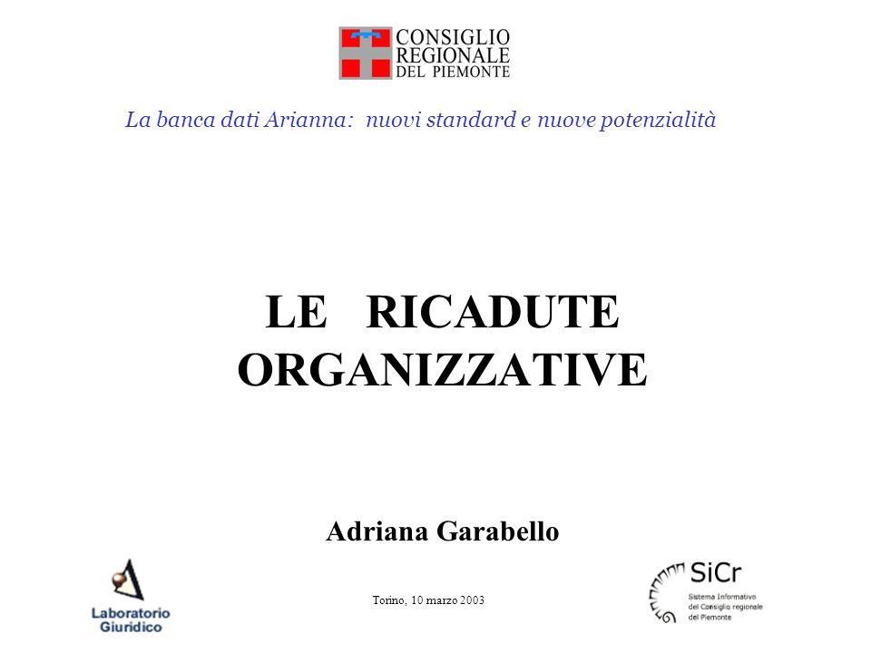 La banca dati Arianna: nuovi standard e nuove potenzialità Torino, 10 marzo 2003 Riassumendo miglioramento nel supporto al legislatore miglioramento per il lavoro del funzionario miglioramento del servizio verso il cittadino in particolare da quando la B.D.