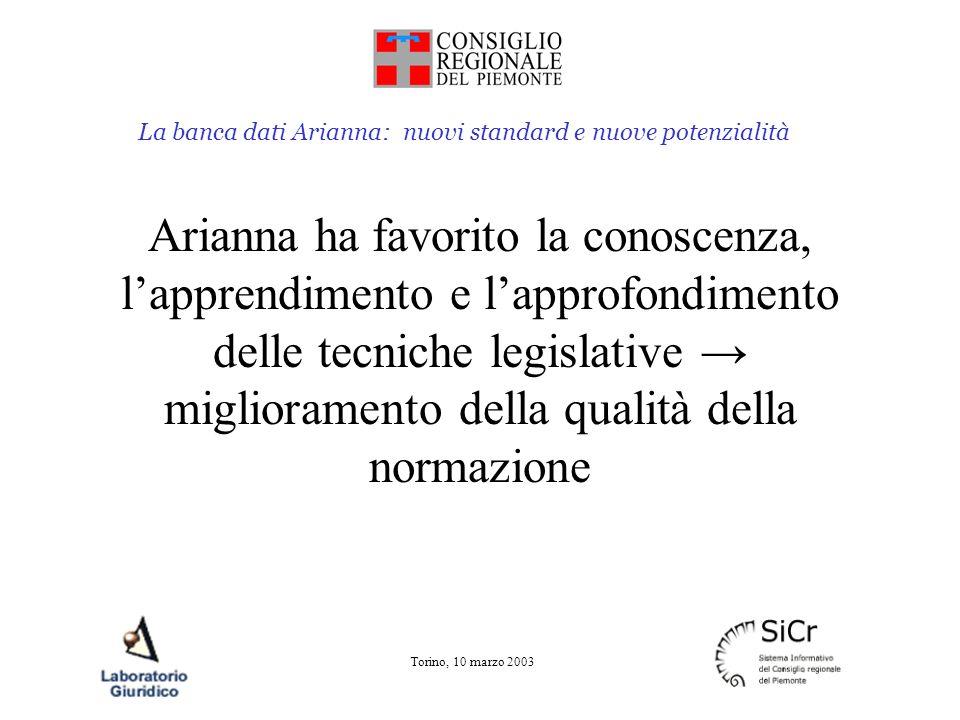 La banca dati Arianna: nuovi standard e nuove potenzialità Torino, 10 marzo 2003 I referenti banca dati approfondiscono le tecniche legislative relative alla redazione delle norme le regole procedurali dell iter degli atti