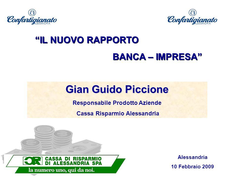Gian Guido Piccione Responsabile Prodotto Aziende Cassa Risparmio Alessandria Alessandria 10 Febbraio 2009 ALESSANDRIA IL NUOVO RAPPORTO BANCA – IMPRESA ALESSANDRIA