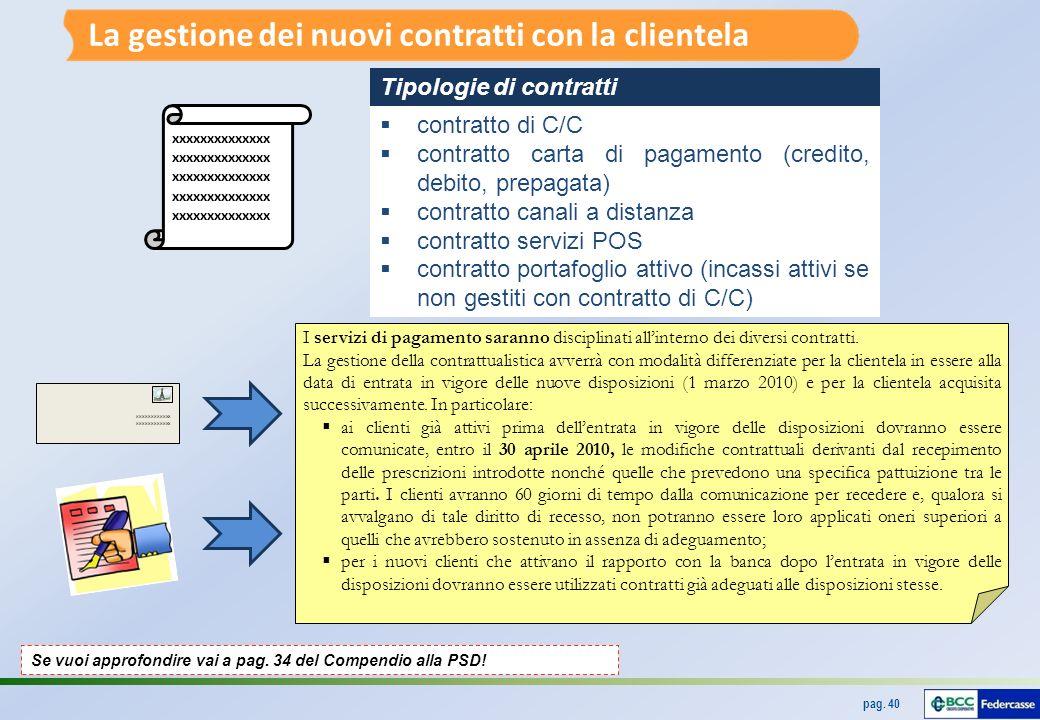 pag.40 xxxxxxxxxxxx I servizi di pagamento saranno disciplinati allinterno dei diversi contratti.