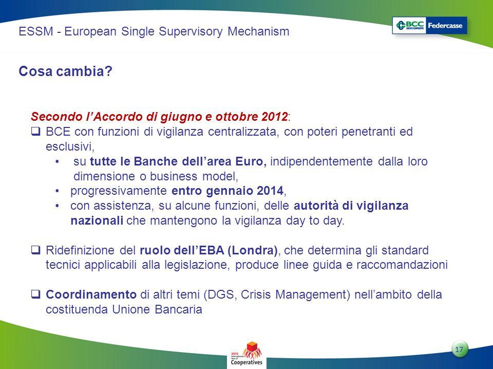 1717 17 ESSM - European Single Supervisory Mechanism Secondo lAccordo di giugno e ottobre 2012: BCE con funzioni di vigilanza centralizzata, con poter