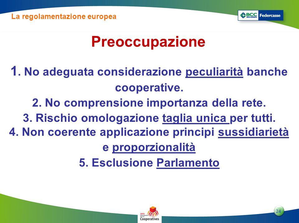 2424 24 1. No adeguata considerazione peculiarità banche cooperative. 2. No comprensione importanza della rete. 3. Rischio omologazione taglia unica p