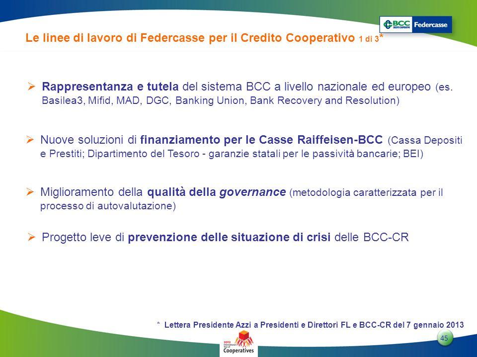 4545 45 Le linee di lavoro di Federcasse per il Credito Cooperativo 1 di 3 * Rappresentanza e tutela del sistema BCC a livello nazionale ed europeo (e