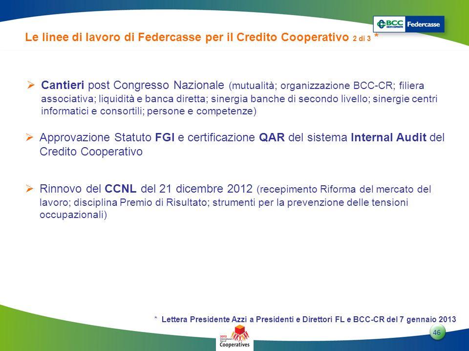4646 46 Le linee di lavoro di Federcasse per il Credito Cooperativo 2 di 3 * Cantieri post Congresso Nazionale (mutualità; organizzazione BCC-CR; fili