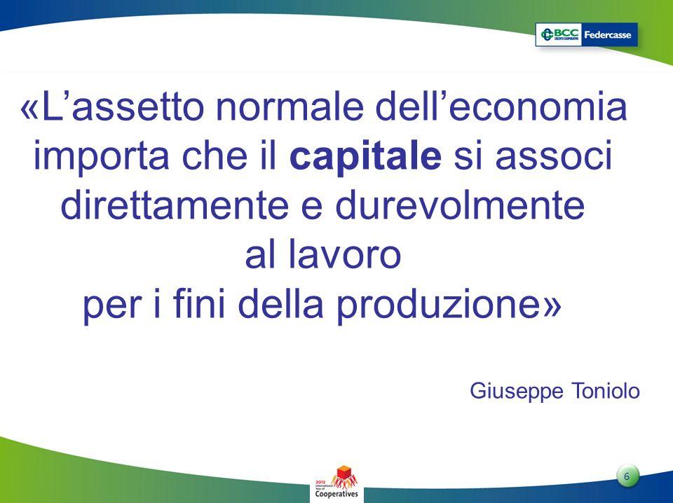 6 6 «Lassetto normale delleconomia importa che il capitale si associ direttamente e durevolmente al lavoro per i fini della produzione» Giuseppe Tonio