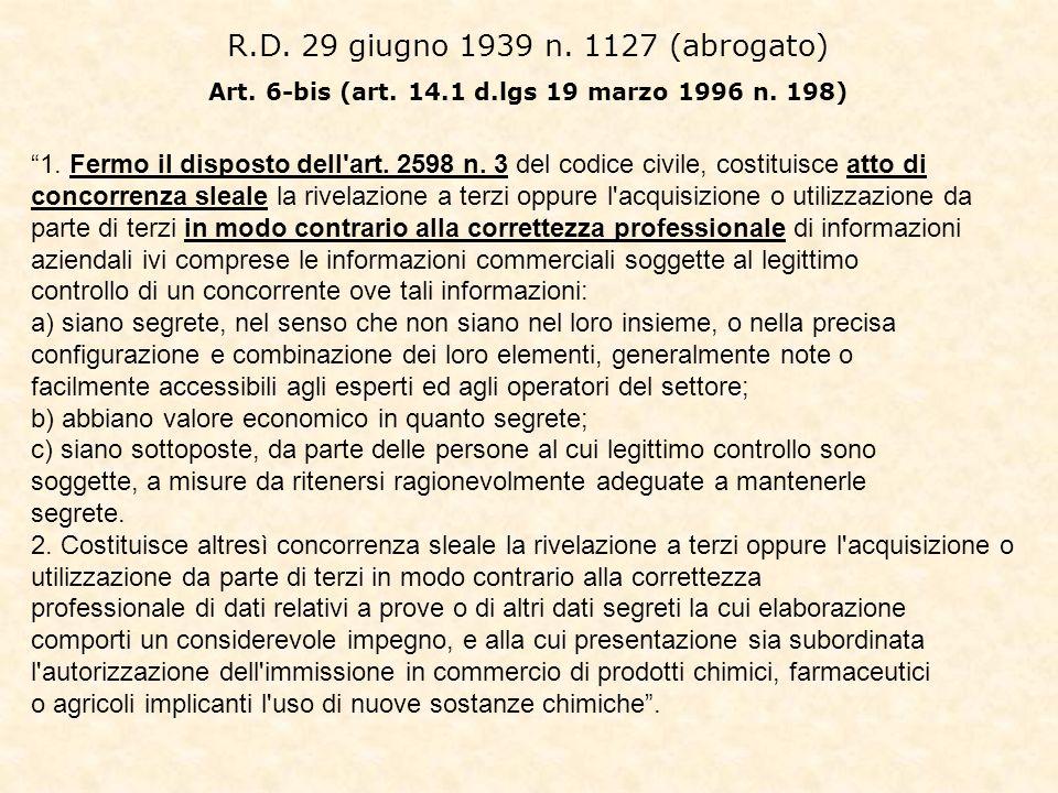 R.D. 29 giugno 1939 n. 1127 (abrogato) Art. 6-bis (art. 14.1 d.lgs 19 marzo 1996 n. 198) 1. Fermo il disposto dell'art. 2598 n. 3 del codice civile, c