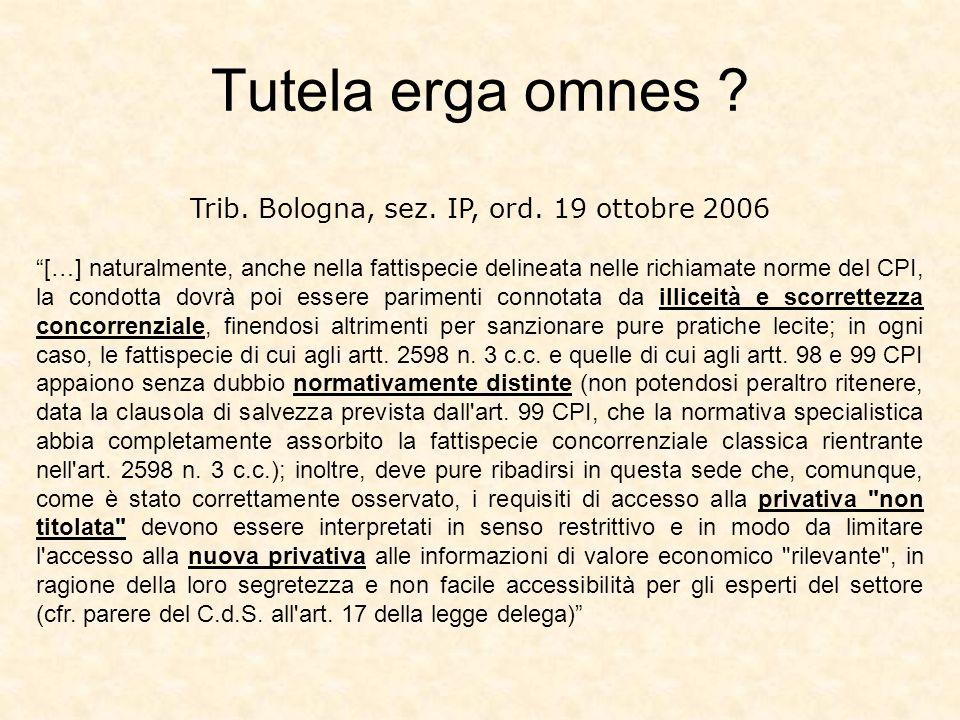 Trib. Bologna, sez. IP, ord. 19 ottobre 2006 […] naturalmente, anche nella fattispecie delineata nelle richiamate norme del CPI, la condotta dovrà poi